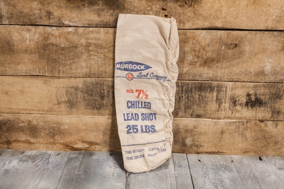 Vintage Murdock Lead Company Chilled Lead Shot Canvas Bag 25lbs Hunting Decor Man Cave Rustic Bag Red Hunting Camp Cabin