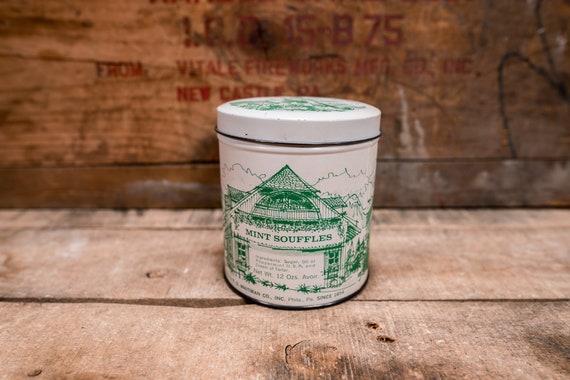 Vintage E.G. Whitman Co. Mint Souffles Candy Tin 16oz Green Philadelphia PA Kitchen Advertising Rustic Country Farmhouse Storage