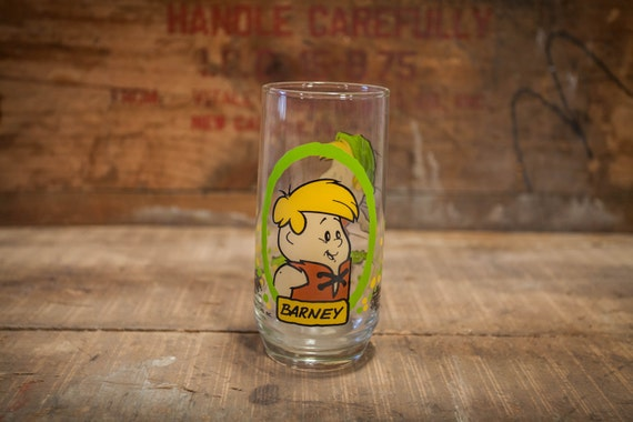 Vintage 1980s The Flintstone Kids Barney Pizza Hut Collectable Glass Hanna Barbera Productions Inc