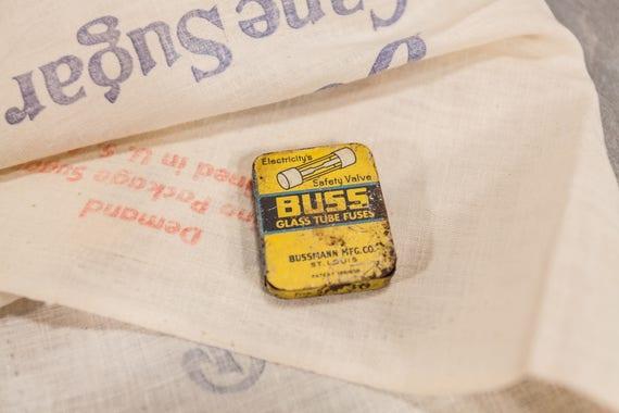 Vintage Buss Glass Tube Fuses Tin Bussmann Mfg Co. Small Tin Advertising Collectable Tin