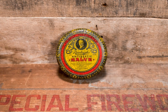 Vintage Rawleighs Antiseptic Healing Salve Tin W.T. Rawleigh Co. Rustic Collectable Tin Farmhouse Country Advertising Freeport Illinois