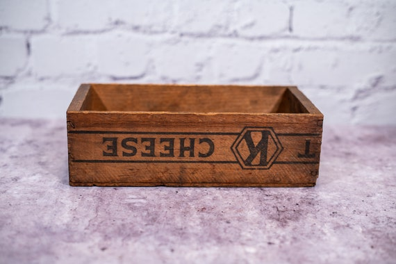 Vintage 1930s Kraft Swiss Cheese Wooden Crate, Cheese Box, Advertising Wooden Cheese Crate