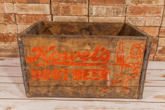 Vintage Howel's Root Beer Red Orange Wooden Crate Soda Pop Primitive Box Carrier Country Rustic Home Decor Man Cave Distressed Farmhouse