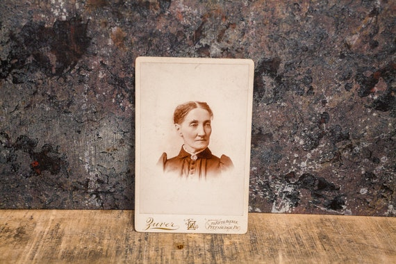 Antique Cabinet Card Photography Woman Photo Zuver Photograph Photo Props Pittsburgh PA