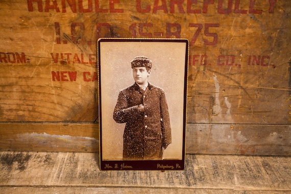 Antique Cabinet Card Photography Boy Photo Young Man Mrs. J. Haines Photograph Photo Props Philipsburg PA