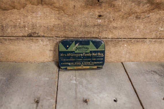 Vintage Mrs. McGregors Family Nail Box Metal Box Tin Advertising Man Cave American Steel & Wire Company