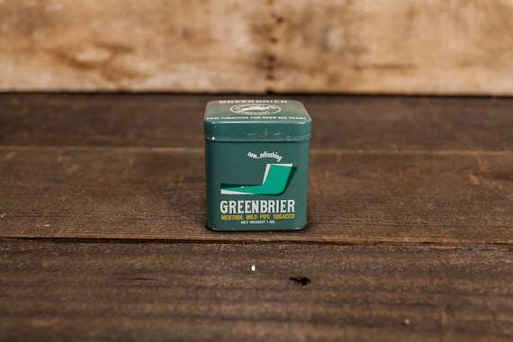 Vintage Greenbrier Pipe Tobacco Square 1oz Tin Kentucky Club Tobacco Tin Green White Man Cave Decor Cigarette Pipe Advertising