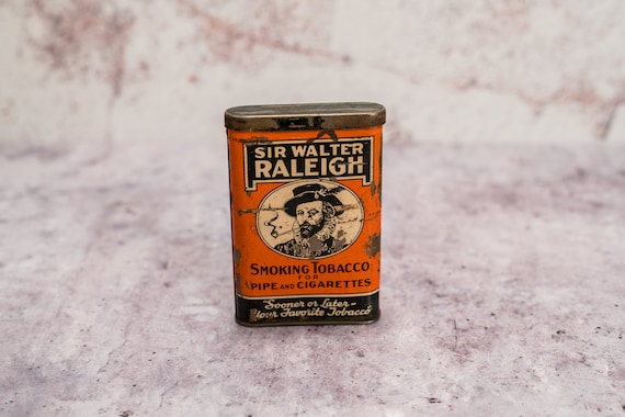 Vintage Sir Walter Raleigh Smoking Tobacco Tin Orange Black Cigarette Pipe Tin