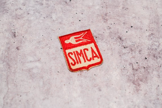 Vintage Simca Car Embroidered Red Patch Badge Man Cave Garage Automotive NOS Advertising