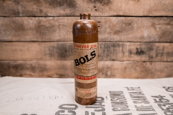 Vintage Genever Gin BOLS Gin Stoneware Bottle Ceramic Bottle Amsterdam Bottle Man Cave Bar