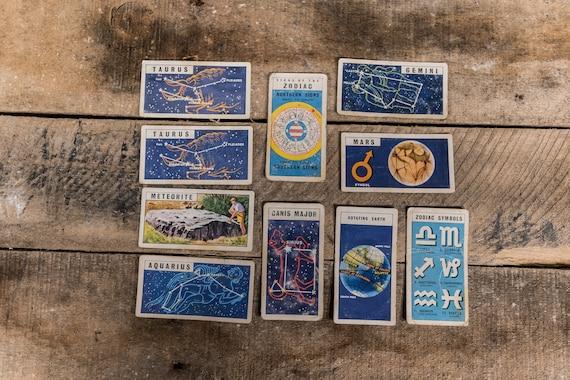 Vintage 1960s Brooke Bond Tea Cards Out into Space Brooke Bond & Co Ltd London Collectable Zodiac Sign