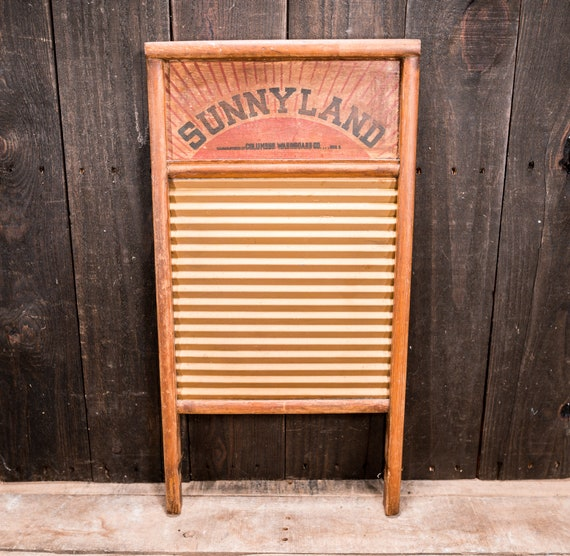 Vintage Rare Sunnyland Washboard No. 2090 Wood Metal Farmhouse Washboard Advertising Country Laundry Decor Red Black Columbus Washboard Co