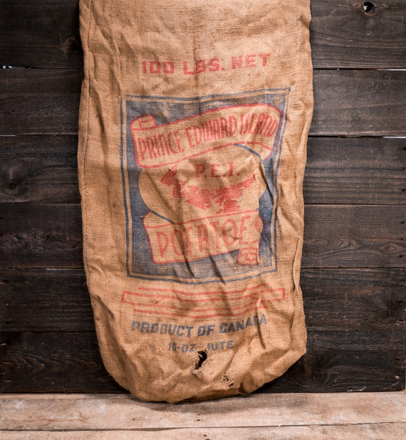 Vintage Prince Edward Island Potato Sack Rustic Primitive Farmhouse Country Advertising Red Blue