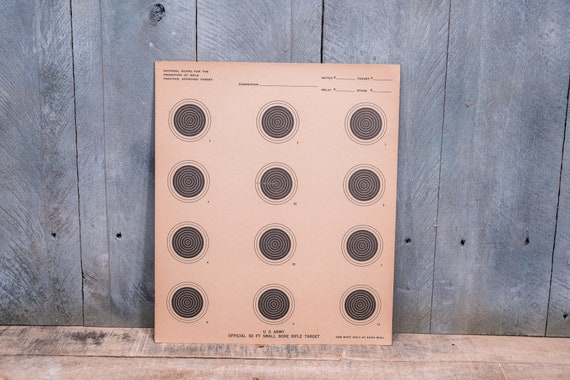 Vintage US Army 50 ft Small Bore Rifle Targets Advertising Hunting Man Cave Cabin Decor Set of 5