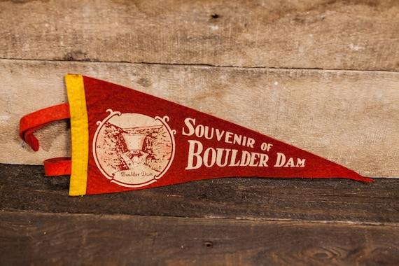 Vintage Boulder Dam Felt Pennant Souvenir Banner Flag Man Cave Rustic
