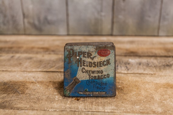 Vintage Piper Heidsieck Chewing Tobacco Tin Champagne Tobacciana Man Cave Rustic Advertising Tin