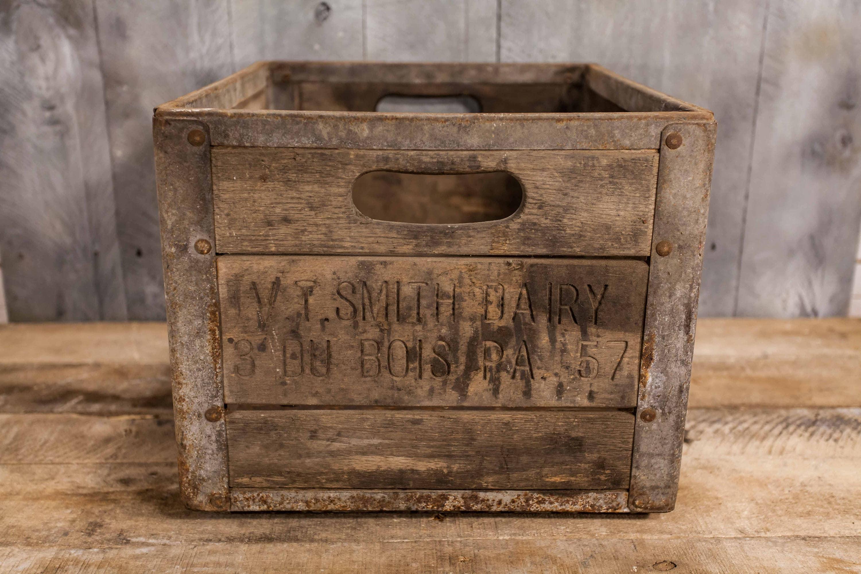 Vintage V T Smith Dairy Milk Crate Wood Metal Milk Bottle Carrier Rustic Home Decor Man Cave Decor Distressed Farmhouse Du Bois Pa