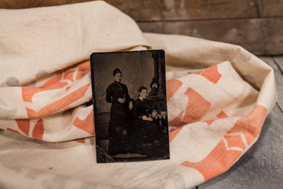 Antique Tintype Photography Sisters Photo Tintype Photograph Photo Props