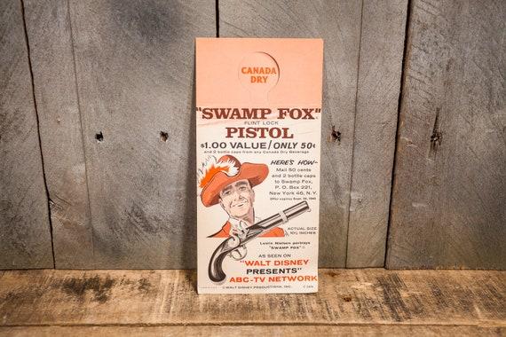 Vintage RARE Canada Dry Ginger Ale Bottle Hanger Advertising Tag Walt Disney Swamp Fox TV Advertising Ephemera