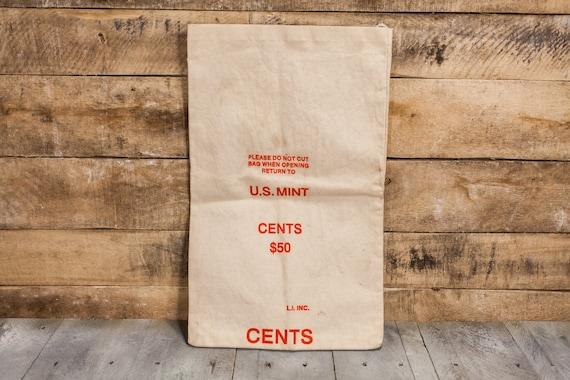Vintage US Mint Cents Bank Bag Money Bag Rustic Photography Theatre Prop Red