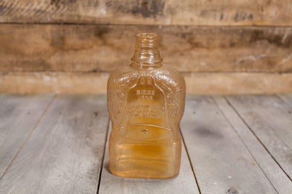 Vintage 1940s Golden Wedding Carnival Glass Whisky Bottle, Wedding Collectable Bottle