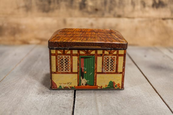 Vintage 1920s Cottage House Shaped Tin Dog Cat Box Hudson Scott & Sons England Collectable Tin