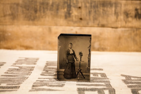 Antique Tintype Photography Woman Siblings Photo Tintype Photograph Photo Props