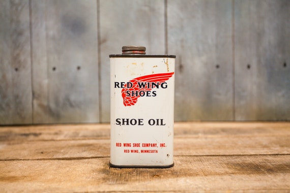 Vintage Red Wing Shoe Oil Tin Red Wing Shoe Company Advertising Man Cave