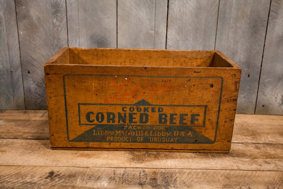 Vintage Libbys Corned Beef Wooden Crate Primitive Box Carrier Wooden Rustic Uruguay