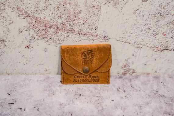 Vintage Castle Rock St. Ignace, Michigan Leather Coin Pouch Bag Wallet Money Bag Rustic