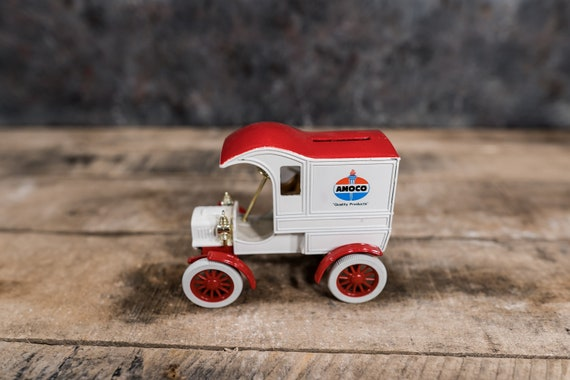 Vintage AMOCO 1905 Delivery Car Bank Fords 1st Delivery Car Model Die-Cast Man Cave Kids Room