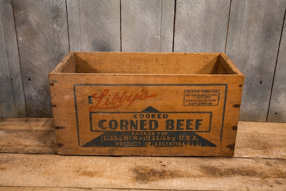 Vintage Libbys Corned Beef Wooden Crate Primitive Box Carrier Wooden Rustic Argentina