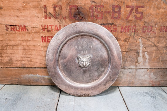 Vintage Fox Plate Trophy Award Dish Man Cave Rustic