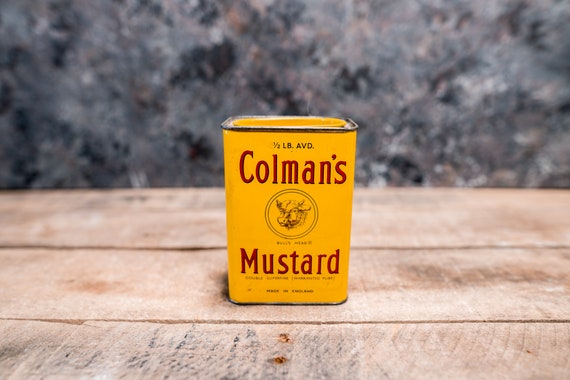 Vintage Colman's Mustard Tin Yellow Red Advertising Can Kitchen Rustic Decor Collectable Tin