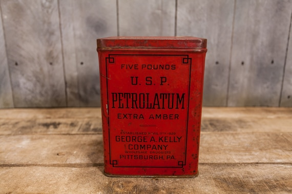 Vintage USP Petrolatum Tin Extra Amber George A. Kelly Co Pittsburgh Pa 5 Pound  Red Rustic Advertising Container Storage Tin