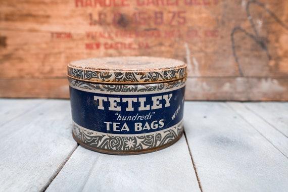 Vintage Tetley Tea Bag Tin Storage Rustic Farmhouse Country Kitchen Home Decor