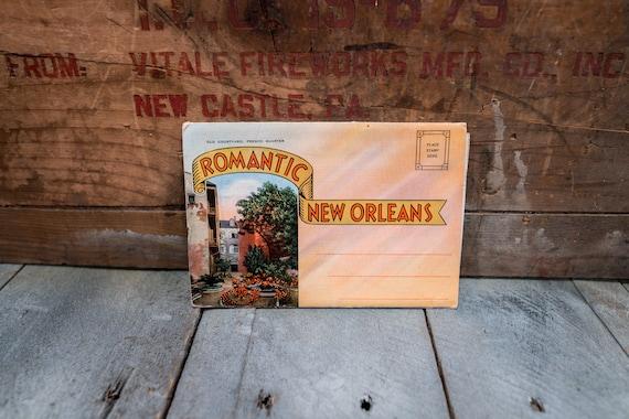 Vintage Romanic New Orleans Souvenir Postcard Booklet Travel Souvenir Folder Postcard Fold Out Ephemera