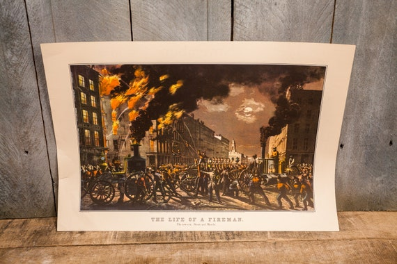 Vintage The Life of a Fireman Litho C. Parsons New Era Steam and Muscle Man Cave Cabin Rustic Fire station