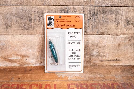 Vintage Captain Jim Strader's Diamond Eye School Teacher Fishing Lure Man Cave Cabin Fisherman