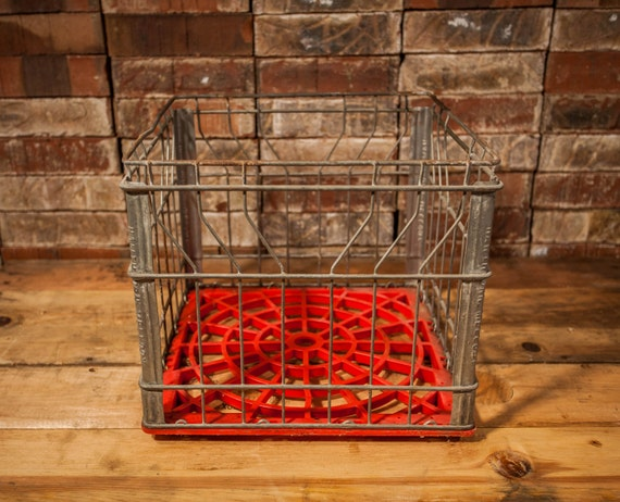 Vintage Hawthorn Mellody Wire Milk Crate Box Metal Red Plastic Bin Rustic Industrial Primitive Carrier