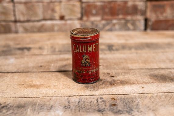 Vintage Calumet Baking Powder Tin Native American Can Chicago Advertising Can Kitchen Rustic Decor Collectable Tin