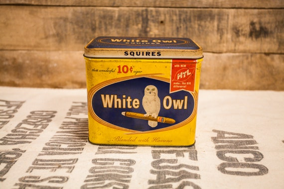 Vintage Squires White Owl Cigars Tobacco Tin Yellow Blue Country Farmhouse Man Cave Tobacciana Rustic