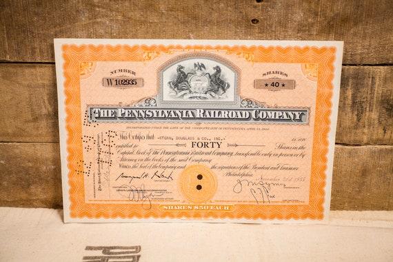 Vintage 1950s The Pennsylvania Railroad Company Stock Certificate 40 Shares Ephemera