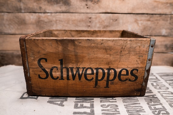 Vintage Schweppes Ginger Ale Soda Wooden Crate Box Metal Rustic Carrier Farmhouse Country Storage Advertising
