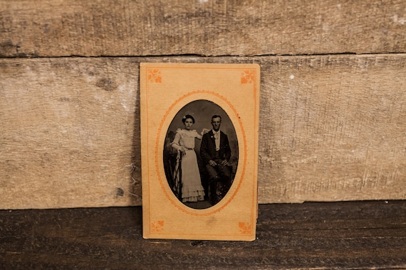 Antique Tintype Photography Man Woman Husband Wife Couple Photo Tintype Photograph Photo Props