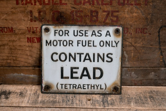 Vintage Porcelain Contains Lead Sign Motor Oil Gas Fuel Pump Plate Advertising Rustic Man Cave Garage