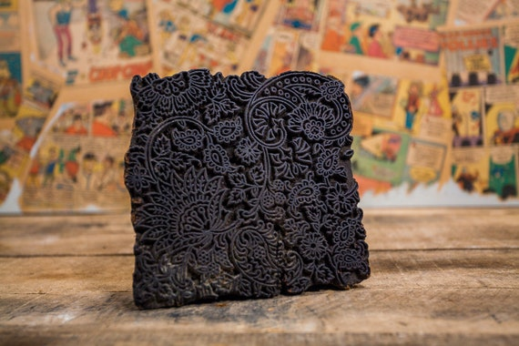 Vintage Primitive India Wood Block Ink Stamp Fabric Stamp Hand Carved Wood Block Flower Ink Stamp Rustic
