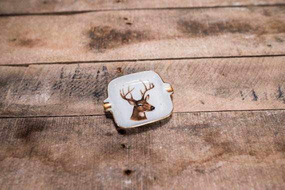 Vintage Ceramic Deer Buck Ashtray Man Cave Hunting Cabin Smoking Cigar Cigarette