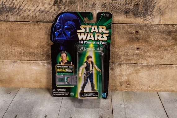 Vintage Star Wars Action Figure Han Solo The Power of the Force Comm Tech Chip Hasbro Figure Star Wars Toy