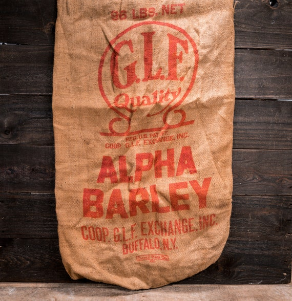 Vintage GLF Alpha Barley Sack Rustic Primitive Farmhouse Country Advertising Red Buffalo NY
